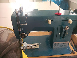 """Photo: My sailrite machine is much to heavy handed to sew the screen So I use 1"""" nylon webbing as binding tape create the seams in the screen"""
