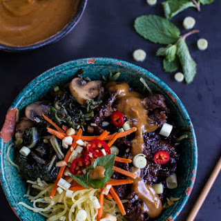 Vietnamese Lemongrass Beef and Spaghetti Squash Noodle Bowls with Peanut Sauce.