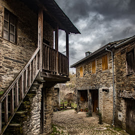 Rio de Onor by Ido Ben-Itzhak - City,  Street & Park  Historic Districts ( cobblestone, portugal, stairs, clouds, alley, village )