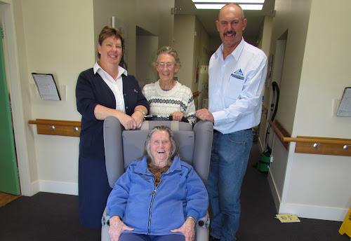 A COMFORTABLE CHAIR, ALL RIGHT: Boggabri MPS resident Marjorie Kelly tries out one of the new air pressure chairs, watched over by health service manager Liz Worboys, resident and former nurse Jan Nudd and Whitehaven Maules Creek Coal external relations superintendent Darren Swain.