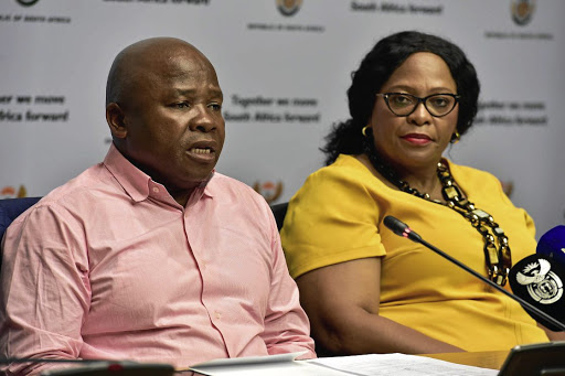 Water crisis: Co-operative Governance Minister Des van Rooyen and Water and Sanitation Minister Nomvula Mokonyane address the media on the government's response to the drought that is crippling parts of SA. Picture: ELMOND JIYANE