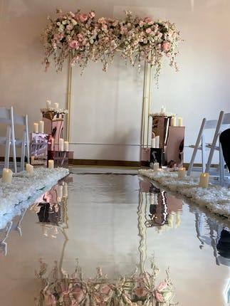 ceremony space with reflecting pool