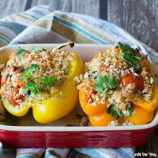 Orzo Stuffed Peppers Italian Style with Spinach and Grape Tomatoes.