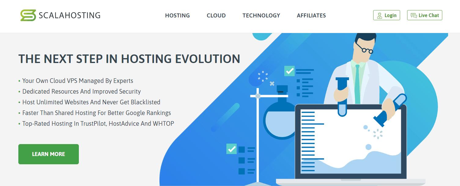 Đánh giá Scala Hosting - ảnh chụp màn hình trang chủ