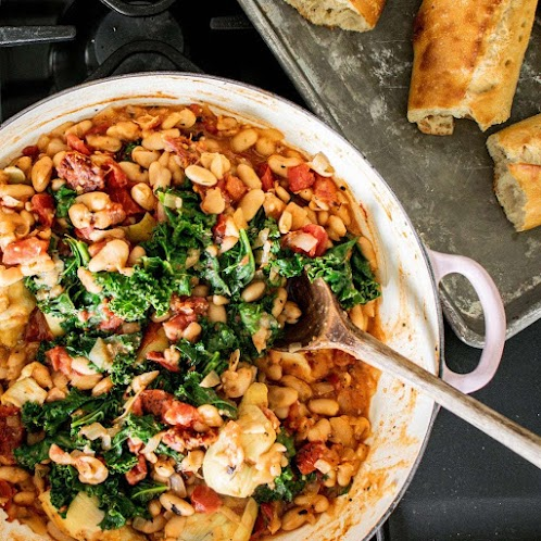 Vegan White Beans and Kale Skillet
