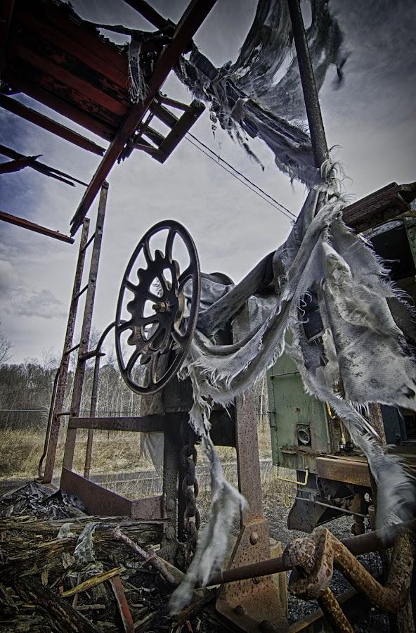 Shredded by Time by Terry Guire - Abstract Fine Art ( wood, cloth, rail car, shredded, shreds, rust )