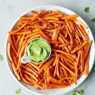 Baked Carrot Fries With Avocado Chimichurri Dipping Sauce.