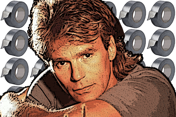 A portrait of MacGyver, an 80's action hero and TV star.