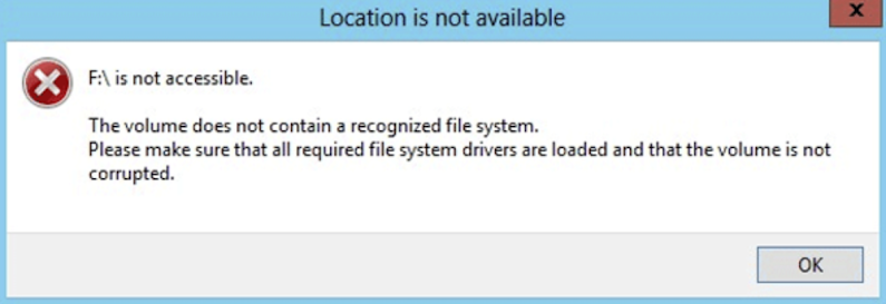 "[Solved] How to Fix Drive is not accessible with the message ""The volume does not contain a recognized file system"""