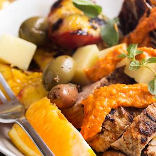 Spanish Grilled Pork Tenderloin with Peaches and Radicchio Recipe