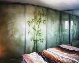Photo: GLAVIVA • Digitaldruck auf Glas • www.glaviva.de  Schranktüren aus Glas mit Bedruckung • Individuelles Glaviva-Glasdesign (© Wolfgang Dehmel) als Großformatdruck auf Glas in einem Privathaushalt