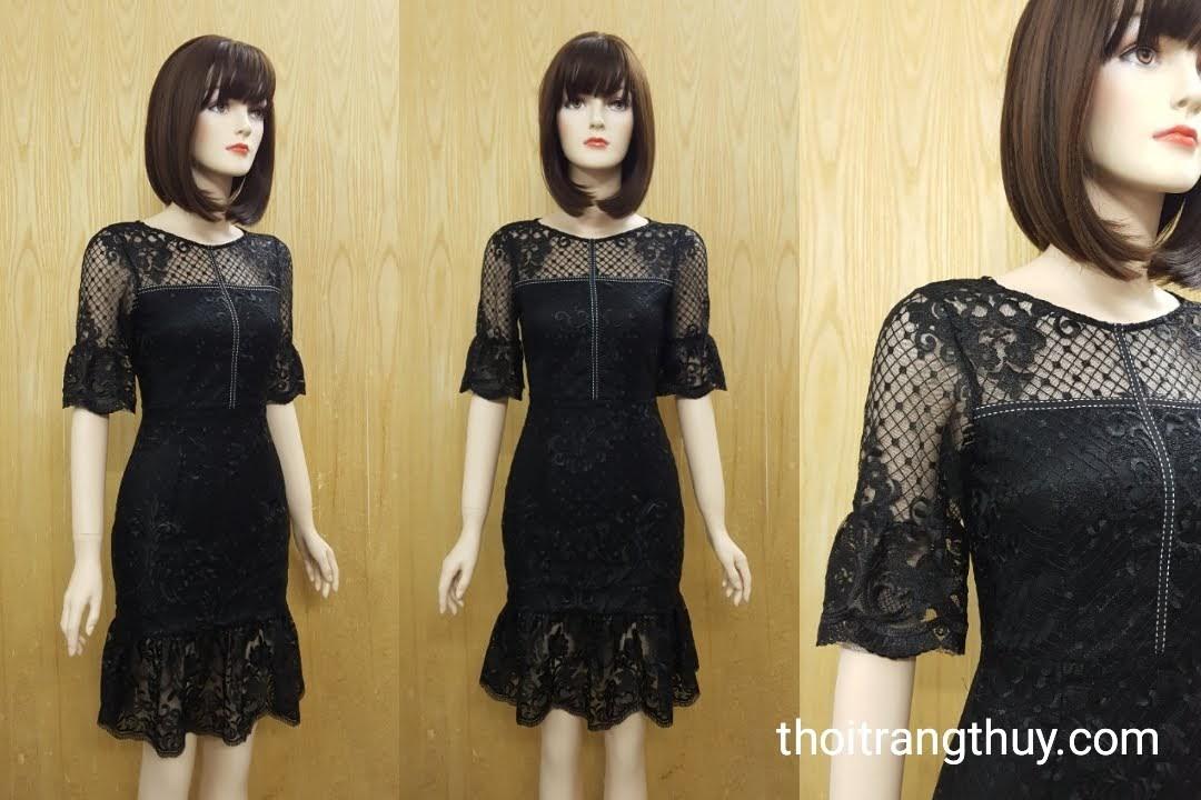 Váy ren dự tiệc dáng xòe loa kèn V517 tại Thời Trang Thủy