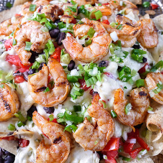 Grilled Shrimp and Pepper Jack Cheese Nachos.