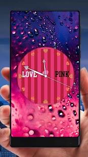 Pink Analog Clock Live Wallpaper - náhled