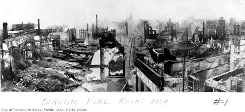 Photo: Toronto in ruins: Looking W from Yonge along Front (centre, with tracks). Union Station's office tower is visible in the distance.