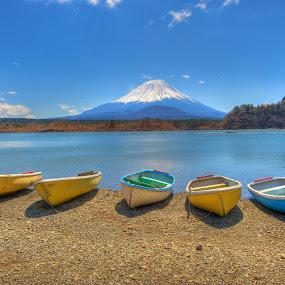 Mount Fuji from Lake Shojiko by Paul Atkinson - Landscapes Travel ( japan, volcano, mountain, mount, nature, snow, fuji, landscape )