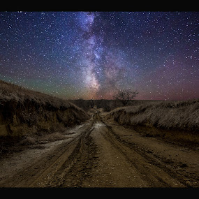 Crossroads to Creation by Aaron Groen - Landscapes Starscapes ( road to nowhere, stars, dirt road, milky way stars, south dakota, road, gravel, milky way )