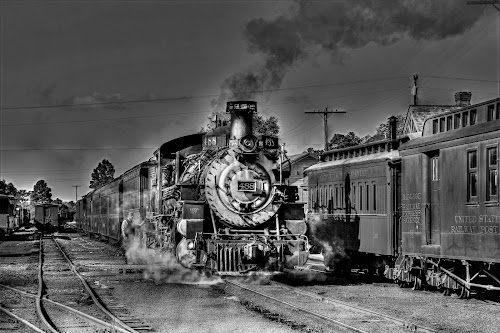Narrow gauge railroad by Ron Olivier - Black & White Street & Candid ( narrow gauge railroad )