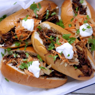 Sticky Maple Pulled Pork Subs with Spicy Slaw