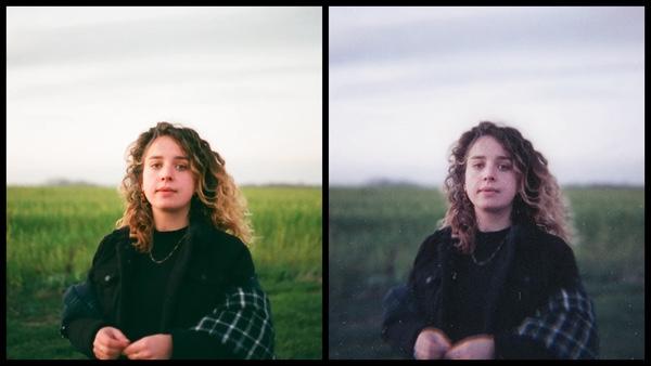 antes e depois da foto, onde uma está mais saturada do que a outra