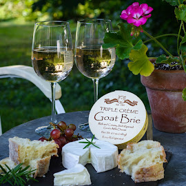 Cheese Plate by Olivia Markonic - Food & Drink Ingredients ( wine, geranium, grapes, bread, cheese, rosemary, brie, picnic,  )