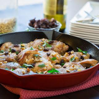 White Wine Chicken Thighs with Creamy Polenta.