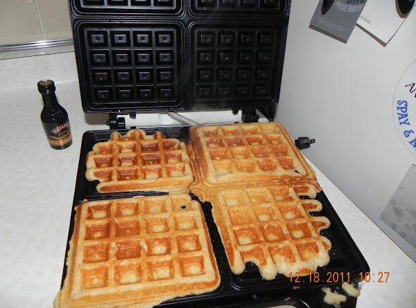 Close the lid after ladling the batter. Most waffles are cooked when the steam...