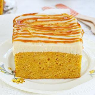 Pumpkin Poke Cake with Caramel Frosting.