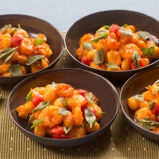Saffron Shrimp & Gnocchi with Cherry Tomatoes & Basil