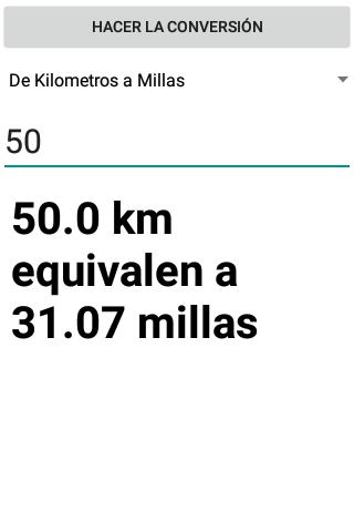 Conversor de Millas a Kilometros screenshot 2