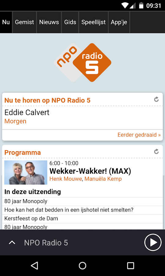 NPO Radio 5: screenshot