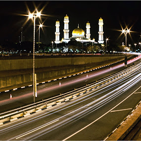 Pray First by Muhammad Muqri - Buildings & Architecture Places of Worship ( lights, mosque, street, light trails, worships )