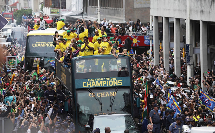 The Springboks Victory Parade at its final leg in Cape Town on Monday morning, where the Rugby World Cup winners were welcomed to parliament with the Webb Ellis trophy and parading through the streets of of Cape Town.
