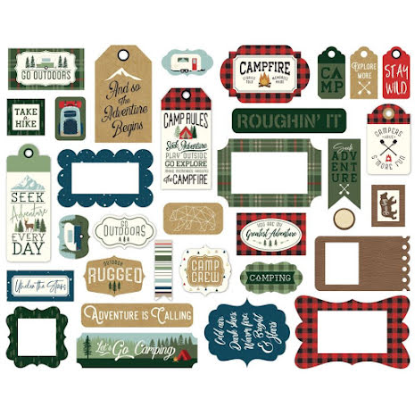Echo Park Lets Go Camping Cardstock Die-Cuts 33/Pkg - Frame & Tags
