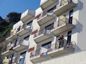 Photo: Kath & Anto on their balcony, Hotel Isola Bella