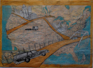 Photo: Country Roads Revisited, 15 x 21, collage with collagraph elements