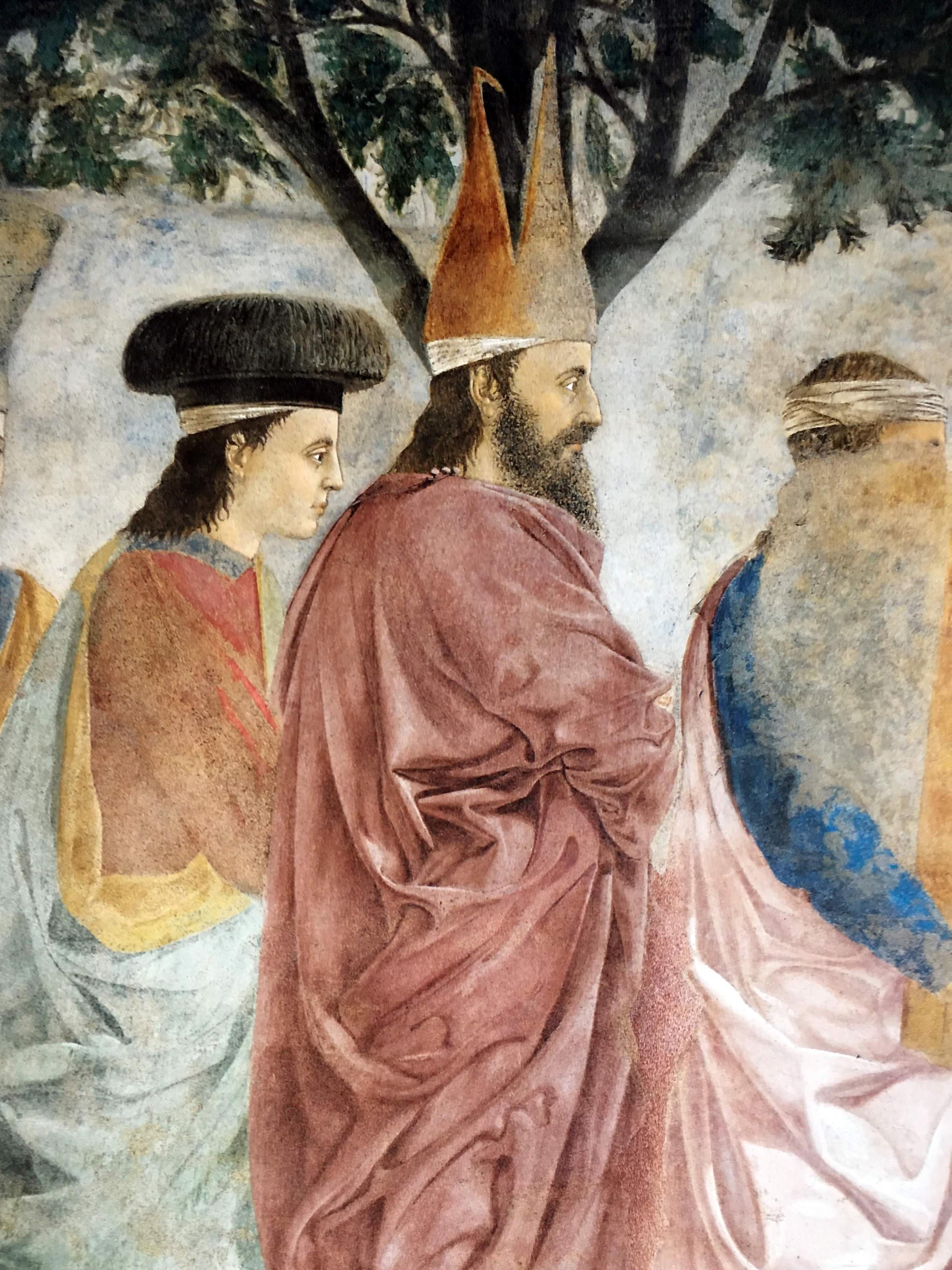 Piero della Francesca,Esaltazione della croce (particolare, Eraclio entra nella città con il vescovo Zaccaria), Basilica di San Francesco, Arezzo