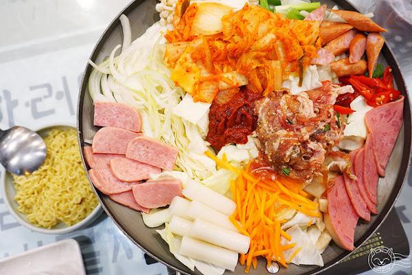 奇化加韓國料理餐廳 超大份量韓式料理,飲料小菜無限量吃到開心,部隊鍋辣得過癮加起司好誘人~