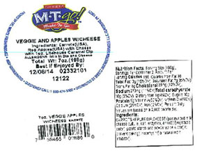Label, Sheetz M-T-Go Veggie and Apples with Cheese, 7 oz.
