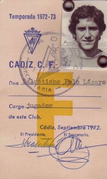 En 1972 jugaba cedido por el Real Madrid en el Cádiz.