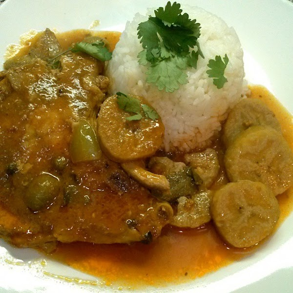 Pork Chops Fricasse With Green Plaintains Recipe