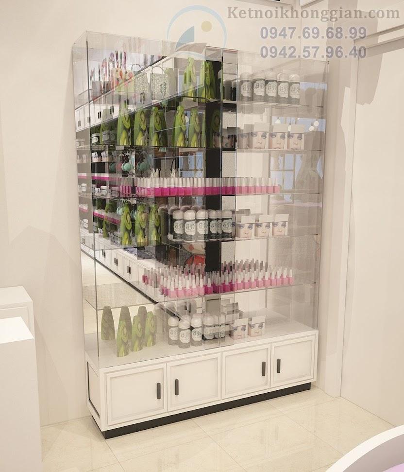 thiết kế tủ trưng bày mỹ phẩm cao cấp