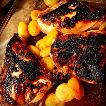 Honey balsamic chicken with dried apricots soaked