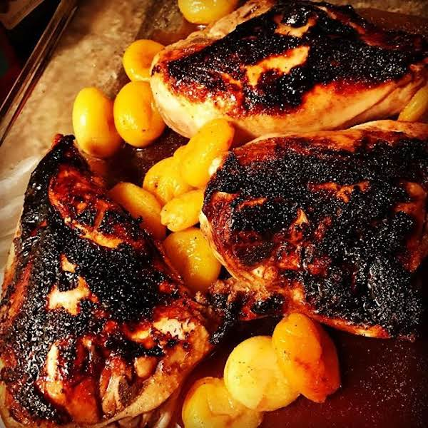 From Instagram: Honey Balsamic Organic Chicken With Apricots Soaked In White Wine