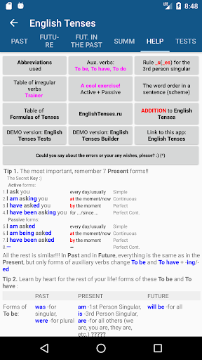 English Tenses screenshots 2