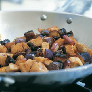 Eggplant, Portobello and Chicken Stir-Fry.