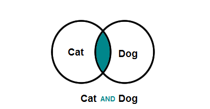 A venn diagram that shows the word Cat in one circle and the word Dog in another circle. A small section of both circles overlap and is colored in blue. Under the image is a title that says Cat AND Dog. The And is the same blue as the area where the two circles overlap.