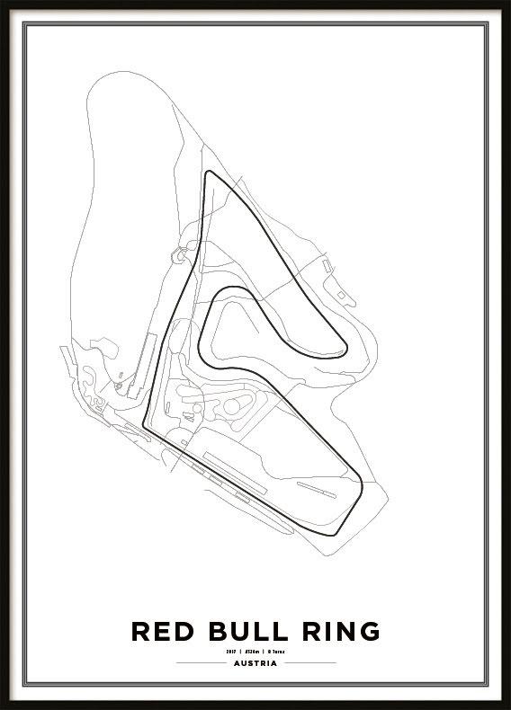 Poster, Red Bull Ring F1 print vit