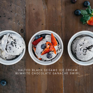 Salted Black Sesame Ice Cream with White Chocolate Ganache Swirl