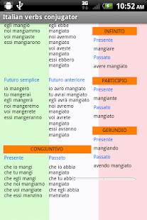 Italian verbs conjugator - náhled